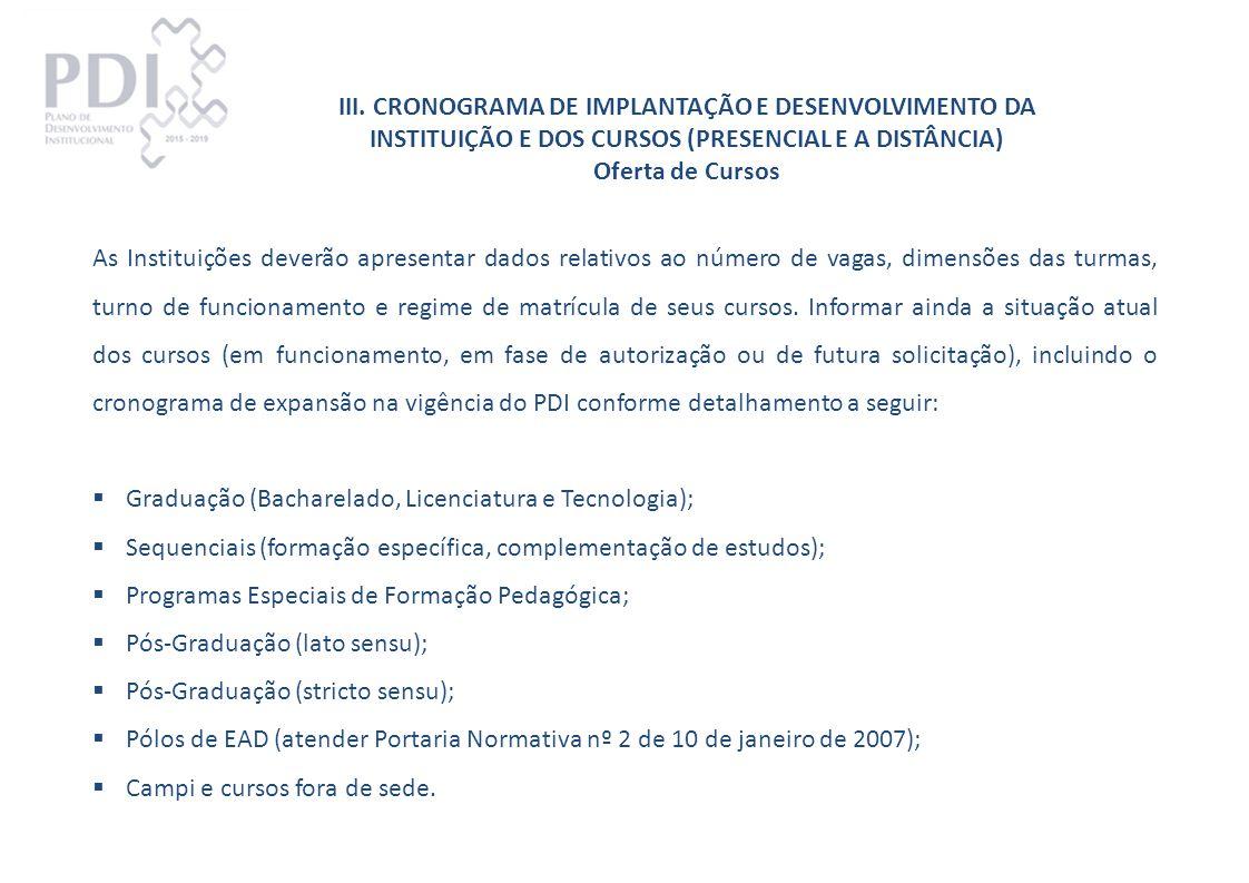 III. CRONOGRAMA DE IMPLANTAÇÃO E DESENVOLVIMENTO DA INSTITUIÇÃO E DOS CURSOS (PRESENCIAL E A DISTÂNCIA)