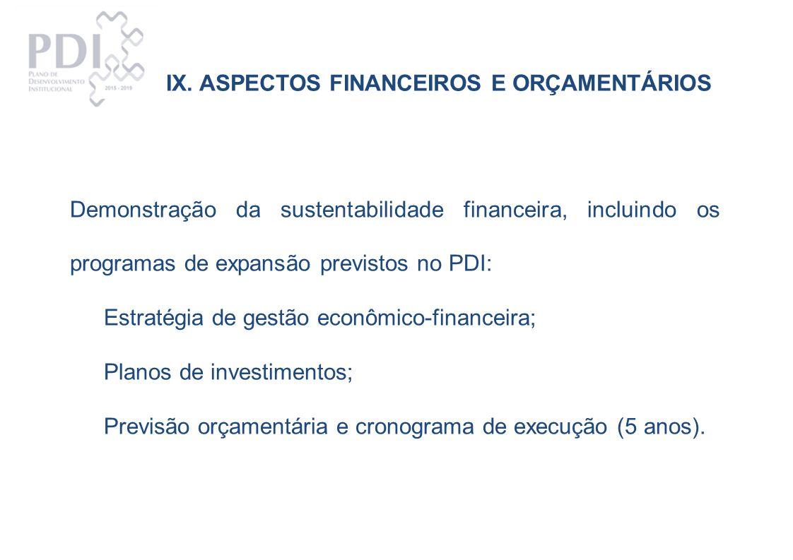 IX. ASPECTOS FINANCEIROS E ORÇAMENTÁRIOS