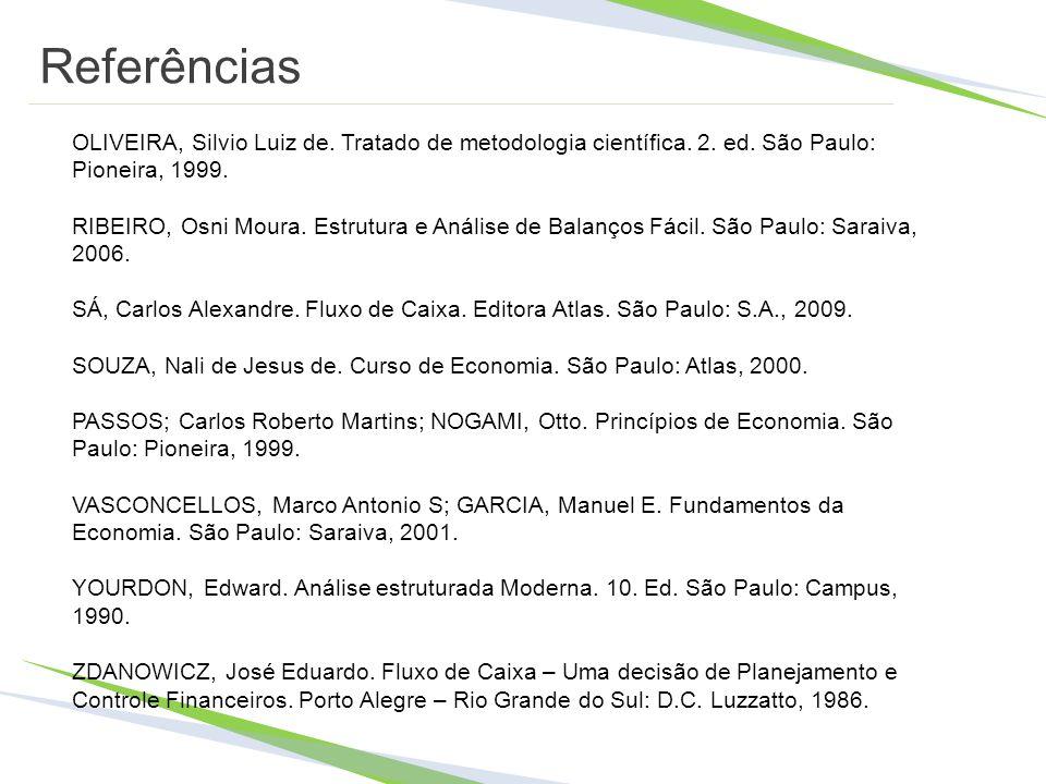 Referências OLIVEIRA, Silvio Luiz de. Tratado de metodologia científica. 2. ed. São Paulo: Pioneira, 1999.