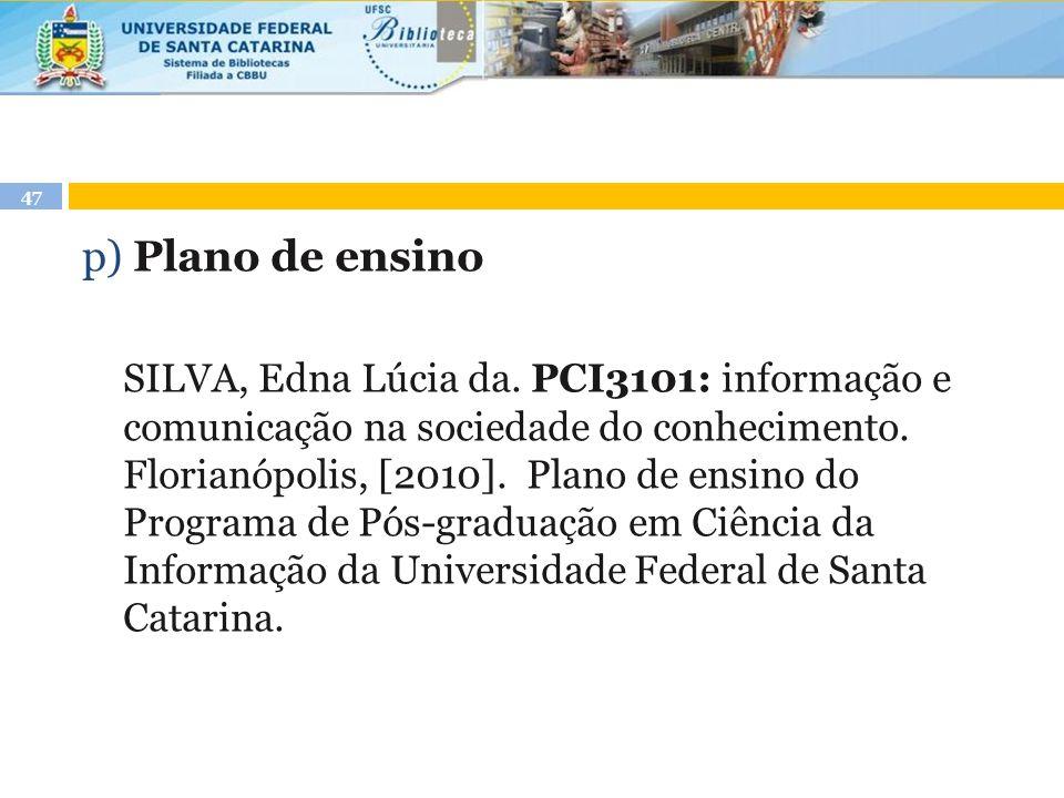 p) Plano de ensino