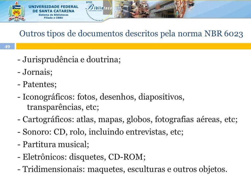Outros tipos de documentos descritos pela norma NBR 6023