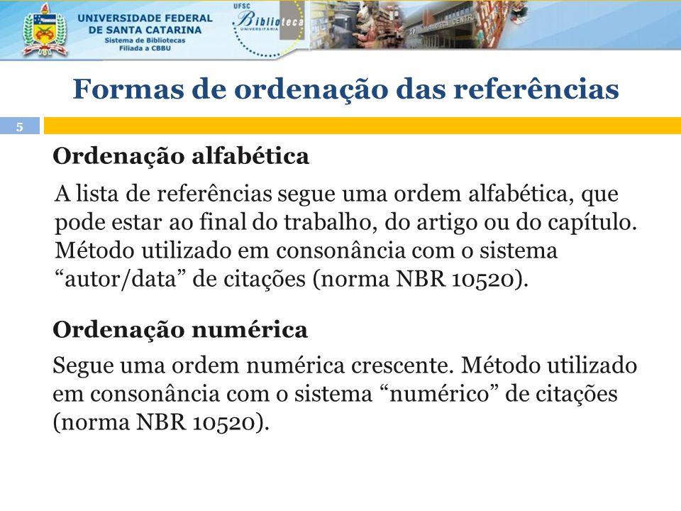 Formas de ordenação das referências