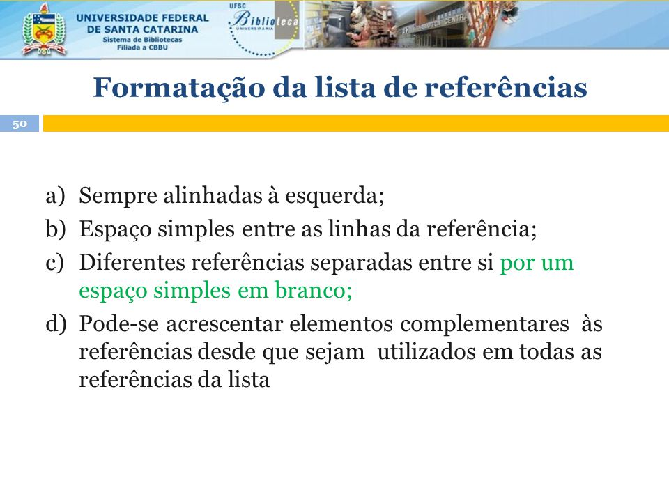 Formatação da lista de referências