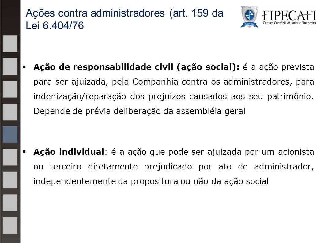 Ações contra administradores (art. 159 da Lei 6.404/76