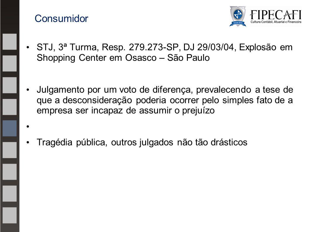 Consumidor STJ, 3ª Turma, Resp. 279.273-SP, DJ 29/03/04, Explosão em Shopping Center em Osasco – São Paulo.