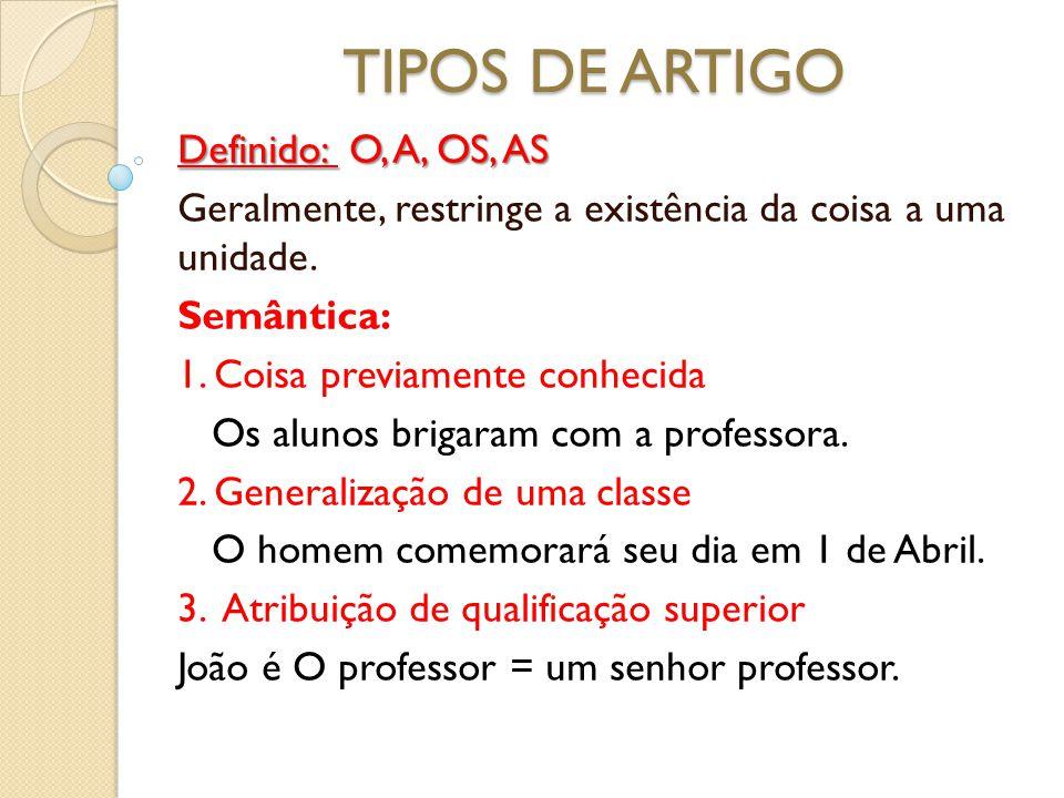 TIPOS DE ARTIGO Definido: O, A, OS, AS
