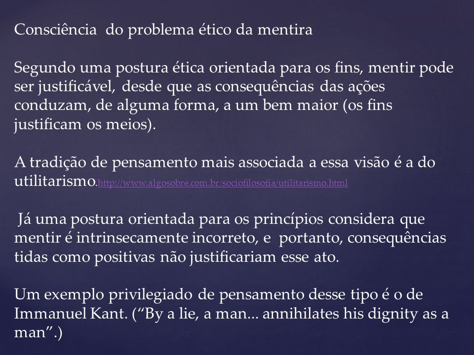 Consciência do problema ético da mentira
