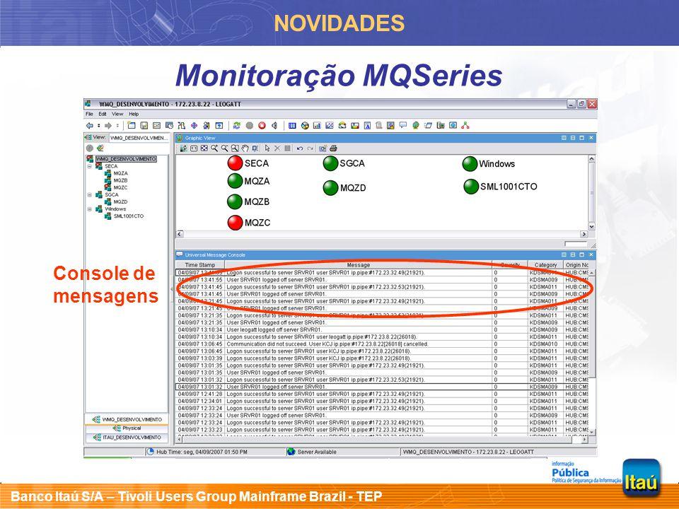 NOVIDADES Monitoração MQSeries Console de mensagens