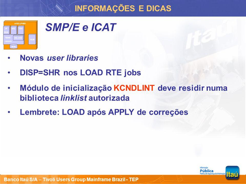 SMP/E e ICAT INFORMAÇÕES E DICAS Novas user libraries