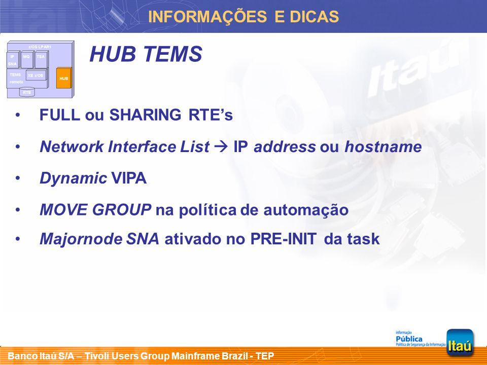 HUB TEMS INFORMAÇÕES E DICAS FULL ou SHARING RTE's