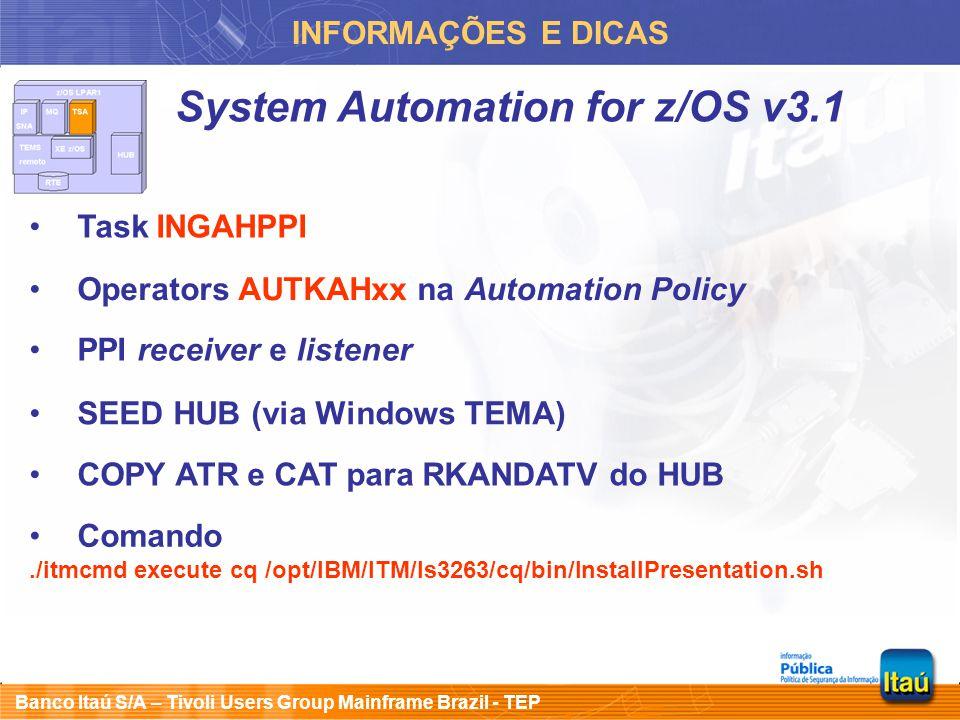 System Automation for z/OS v3.1