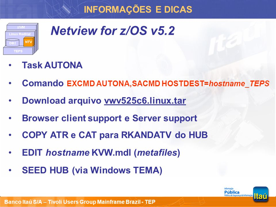 Netview for z/OS v5.2 INFORMAÇÕES E DICAS Task AUTONA