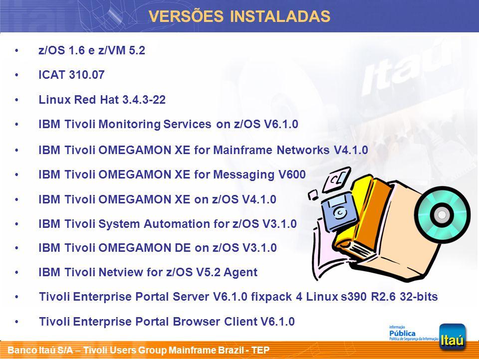 VERSÕES INSTALADAS z/OS 1.6 e z/VM 5.2 ICAT 310.07