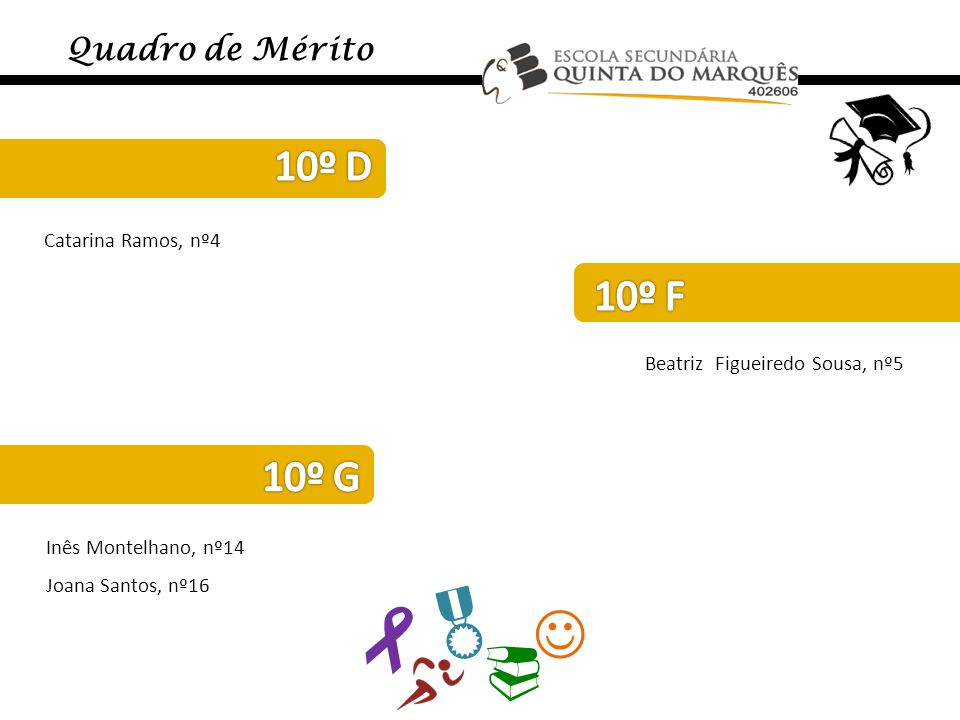     10º D 10º F 10º G Quadro de Mérito Catarina Ramos, nº4