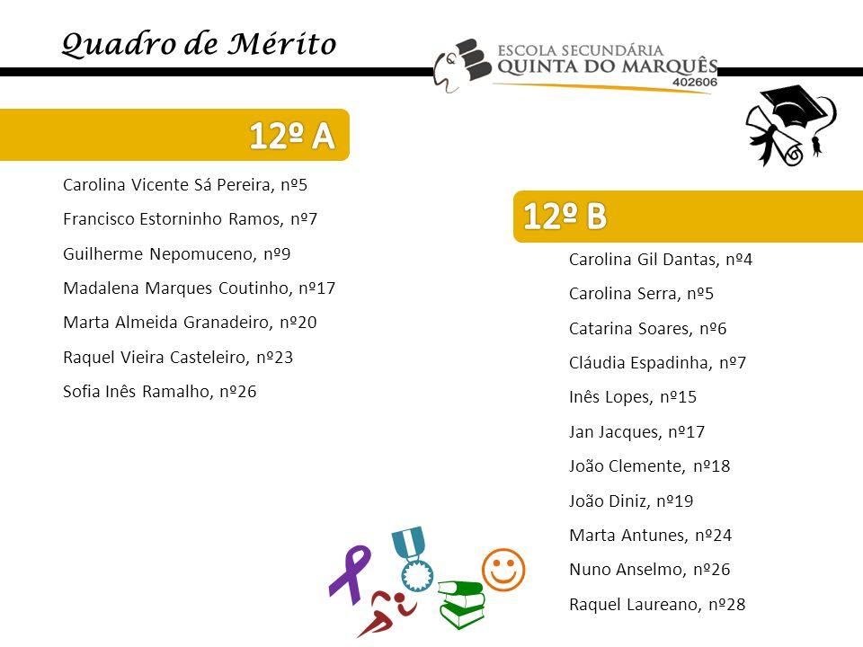     12º A 12º B Quadro de Mérito Carolina Vicente Sá Pereira, nº5