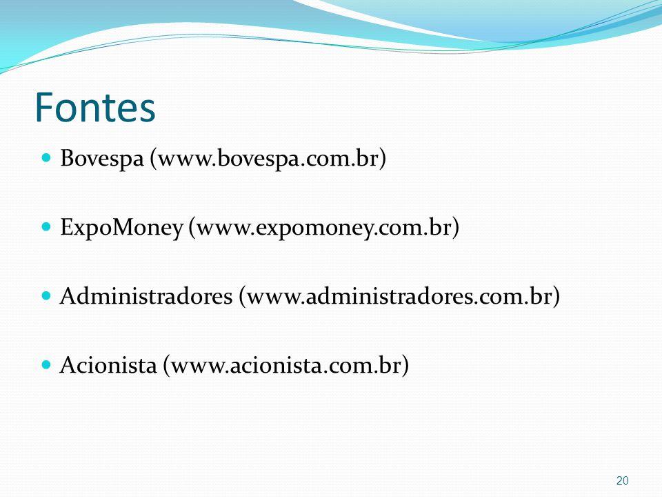 Fontes Bovespa (www.bovespa.com.br) ExpoMoney (www.expomoney.com.br)