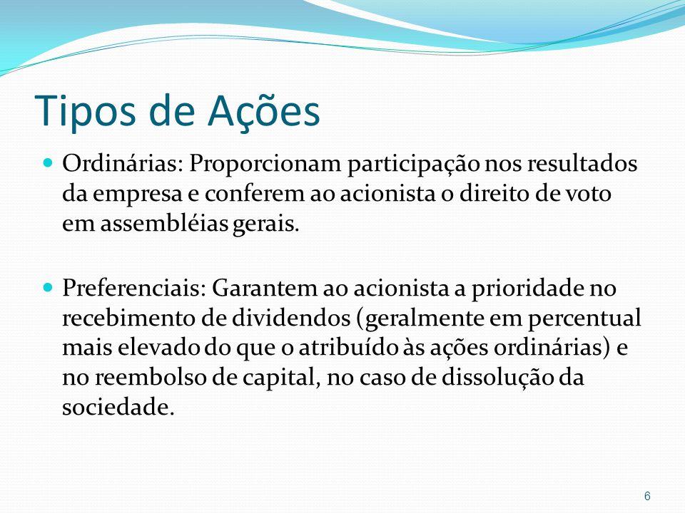 Tipos de Ações Ordinárias: Proporcionam participação nos resultados da empresa e conferem ao acionista o direito de voto em assembléias gerais.