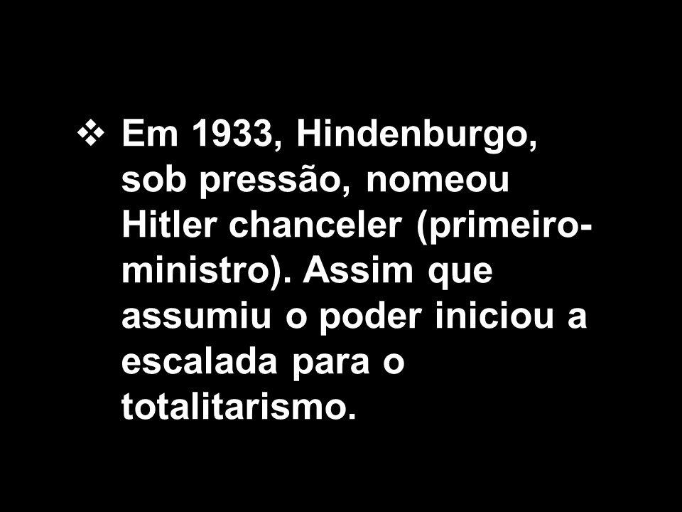 Em 1933, Hindenburgo, sob pressão, nomeou Hitler chanceler (primeiro-ministro).