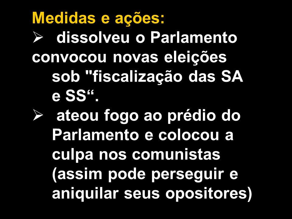 Medidas e ações: dissolveu o Parlamento. convocou novas eleições sob fiscalização das SA e SS .
