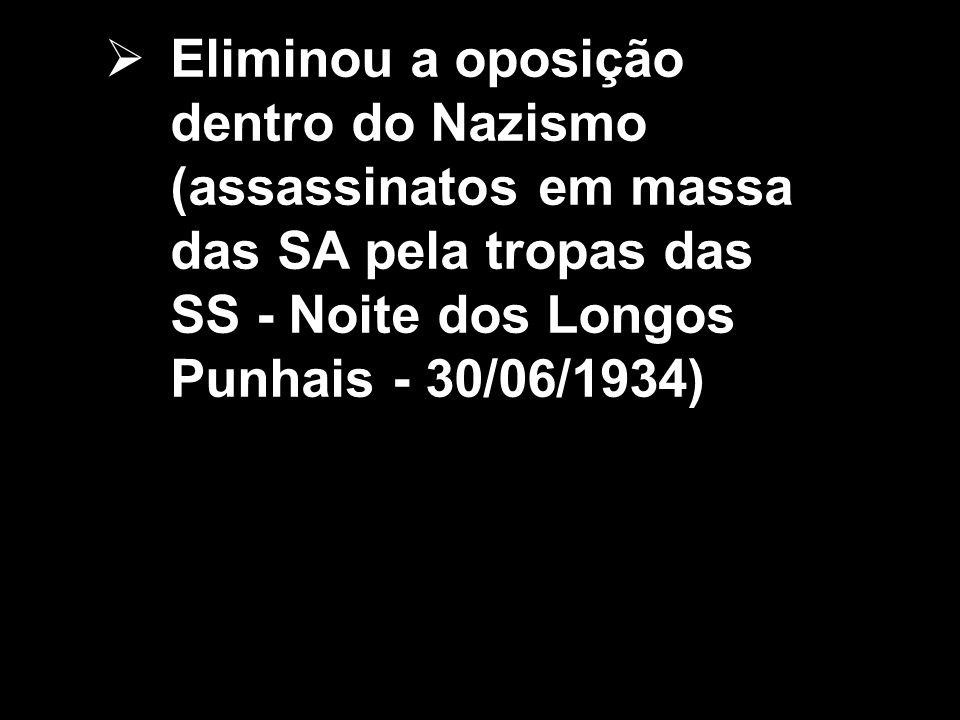 Eliminou a oposição dentro do Nazismo (assassinatos em massa das SA pela tropas das SS - Noite dos Longos Punhais - 30/06/1934)