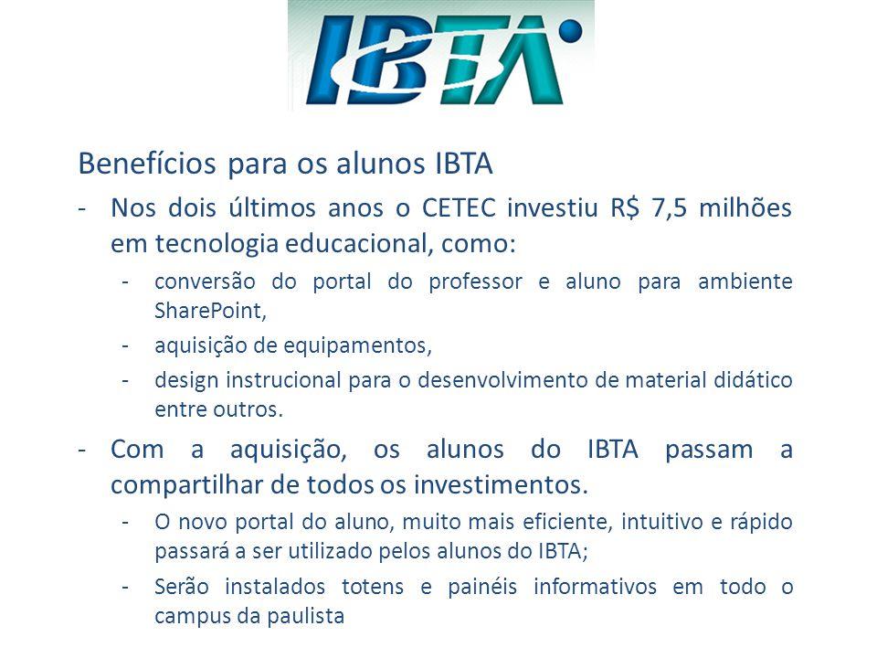 Benefícios para os alunos IBTA
