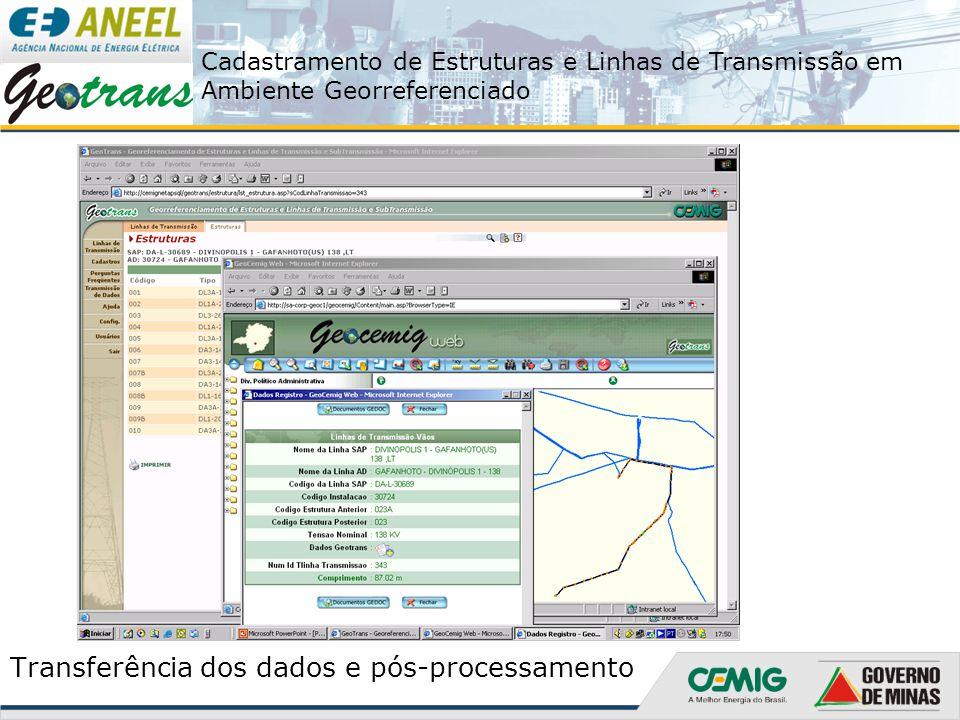 Transferência dos dados e pós-processamento
