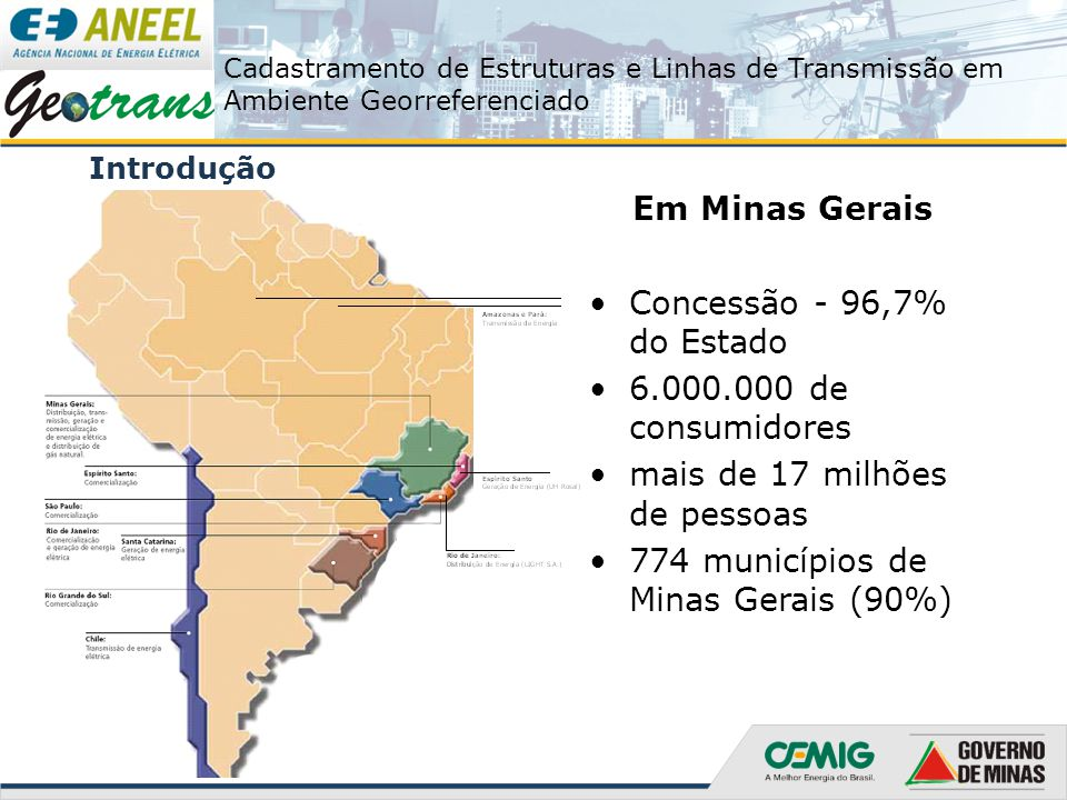 mais de 17 milhões de pessoas 774 municípios de Minas Gerais (90%)