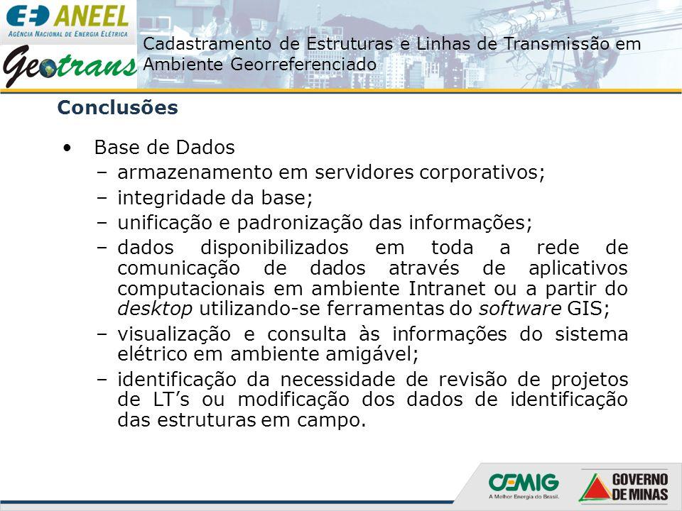 Conclusões Base de Dados. armazenamento em servidores corporativos; integridade da base; unificação e padronização das informações;
