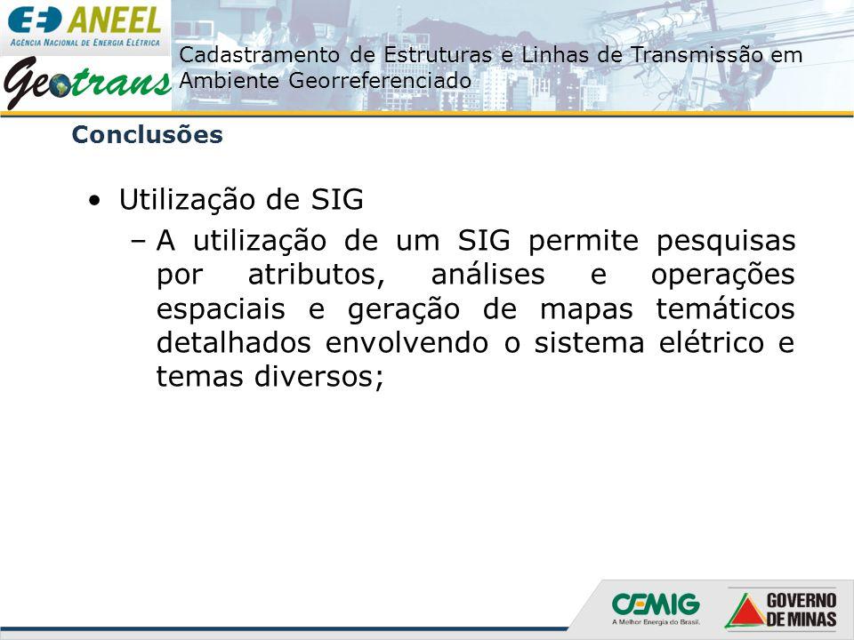 Conclusões Utilização de SIG.