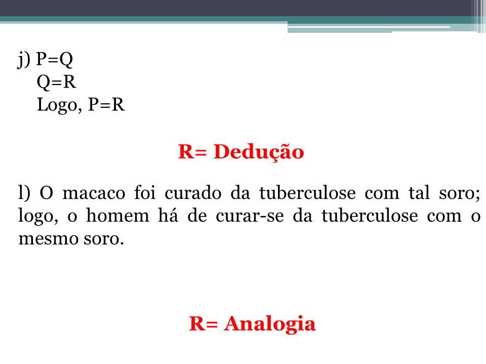 R= Dedução R= Analogia j) P=Q Q=R Logo, P=R