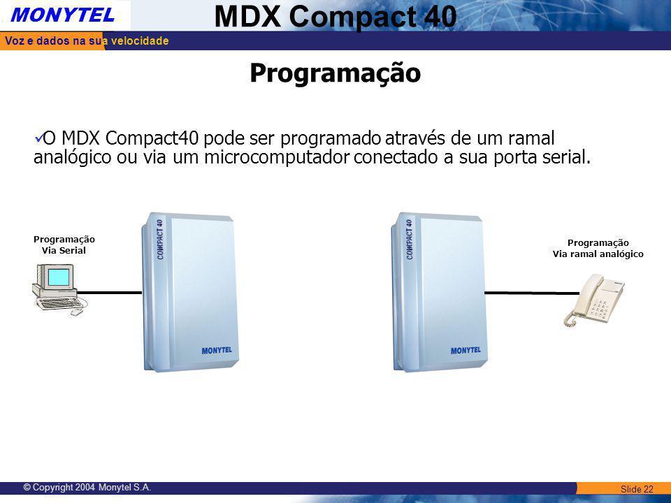 Programação O MDX Compact40 pode ser programado através de um ramal analógico ou via um microcomputador conectado a sua porta serial.