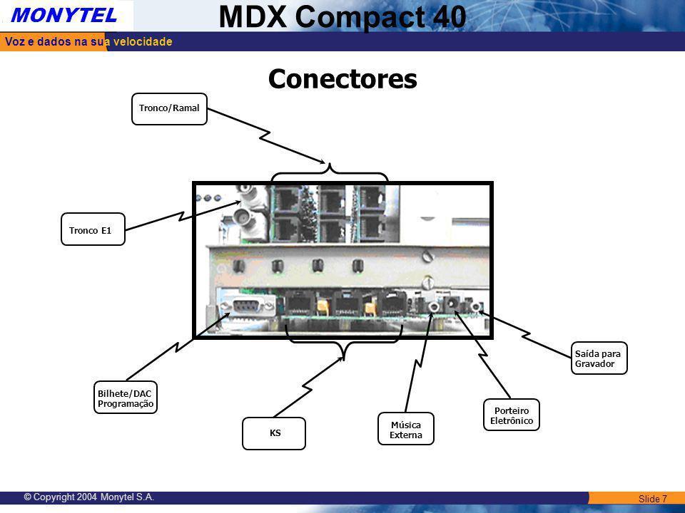 Conectores Tronco/Ramal Tronco E1 Saída para Gravador