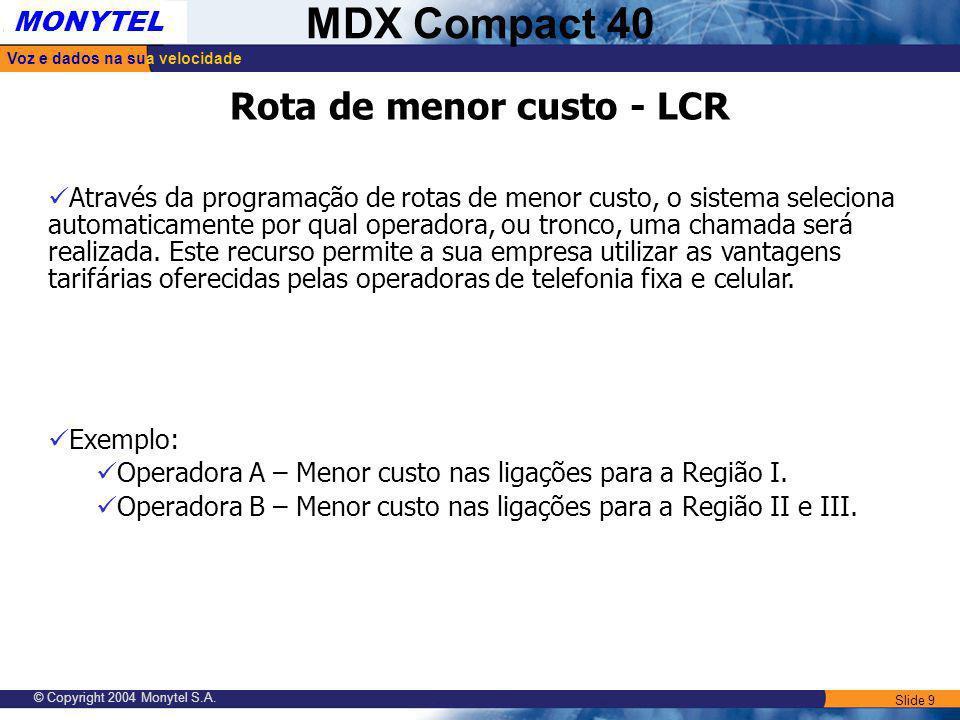 Rota de menor custo - LCR