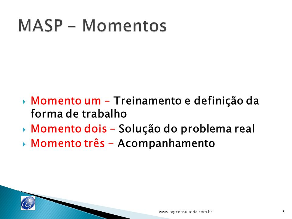 MASP - Momentos Momento um – Treinamento e definição da forma de trabalho. Momento dois – Solução do problema real.