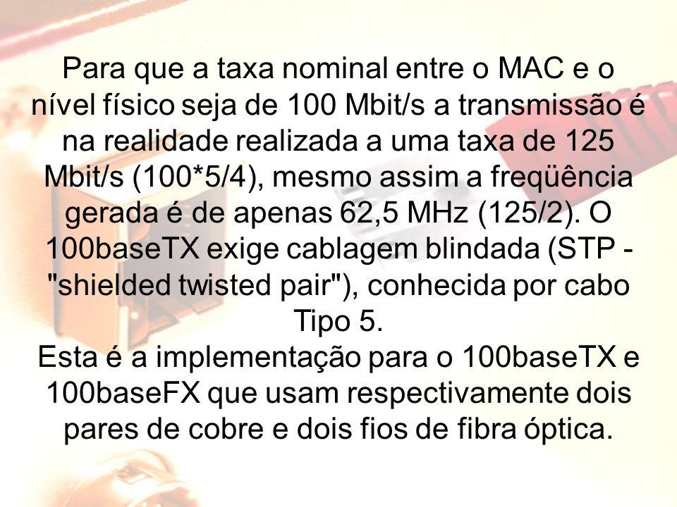 Para que a taxa nominal entre o MAC e o nível físico seja de 100 Mbit/s a transmissão é na realidade realizada a uma taxa de 125 Mbit/s (100*5/4), mesmo assim a freqüência gerada é de apenas 62,5 MHz (125/2). O 100baseTX exige cablagem blindada (STP - shielded twisted pair ), conhecida por cabo Tipo 5.