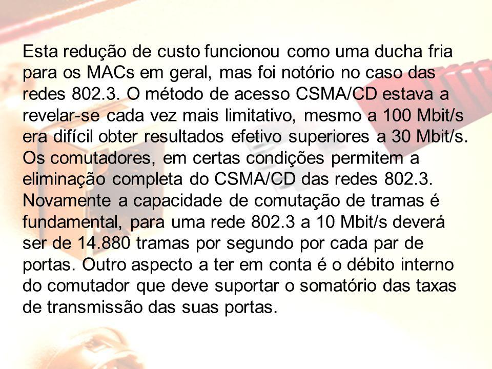 Esta redução de custo funcionou como uma ducha fria para os MACs em geral, mas foi notório no caso das redes 802.3. O método de acesso CSMA/CD estava a revelar-se cada vez mais limitativo, mesmo a 100 Mbit/s era difícil obter resultados efetivo superiores a 30 Mbit/s. Os comutadores, em certas condições permitem a eliminação completa do CSMA/CD das redes 802.3.