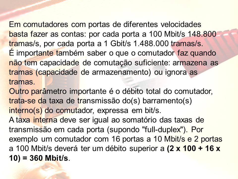 Em comutadores com portas de diferentes velocidades basta fazer as contas: por cada porta a 100 Mbit/s 148.800 tramas/s, por cada porta a 1 Gbit/s 1.488.000 tramas/s.