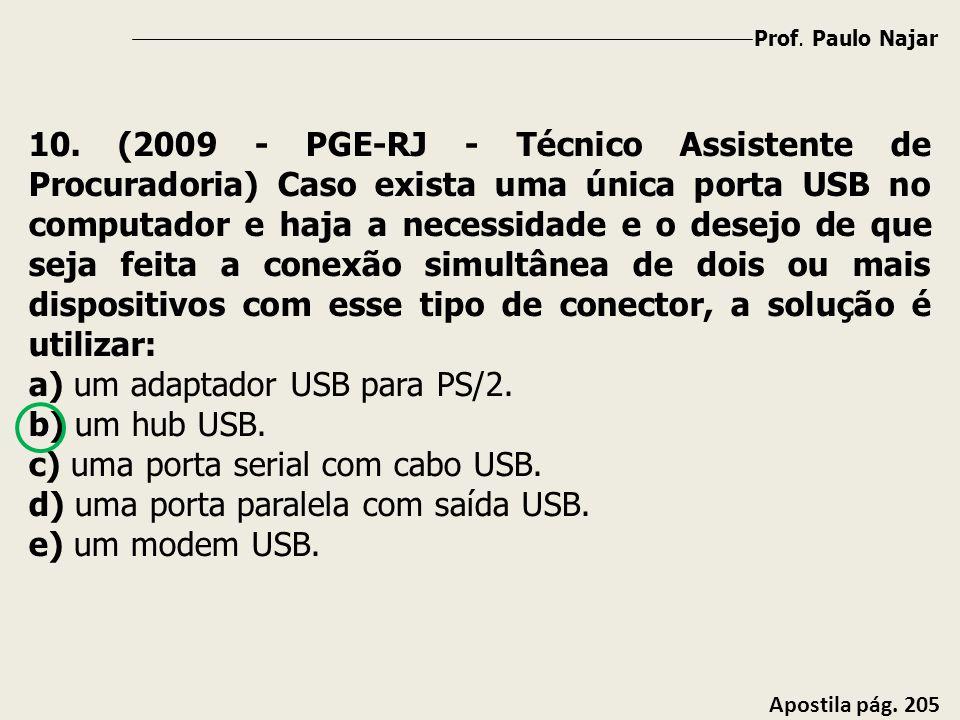 a) um adaptador USB para PS/2. b) um hub USB.
