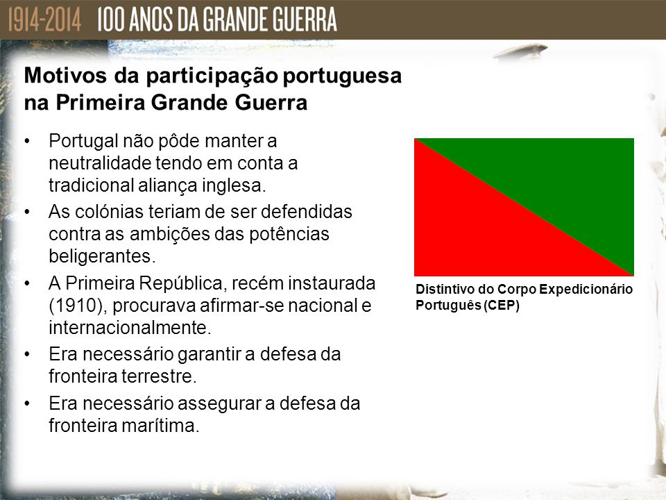 Motivos da participação portuguesa na Primeira Grande Guerra