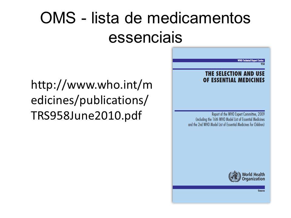 OMS - lista de medicamentos essenciais