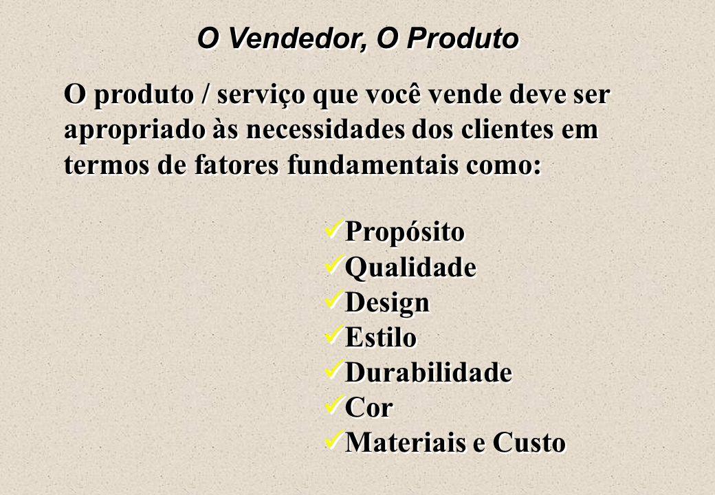 O Vendedor, O Produto O produto / serviço que você vende deve ser apropriado às necessidades dos clientes em termos de fatores fundamentais como: