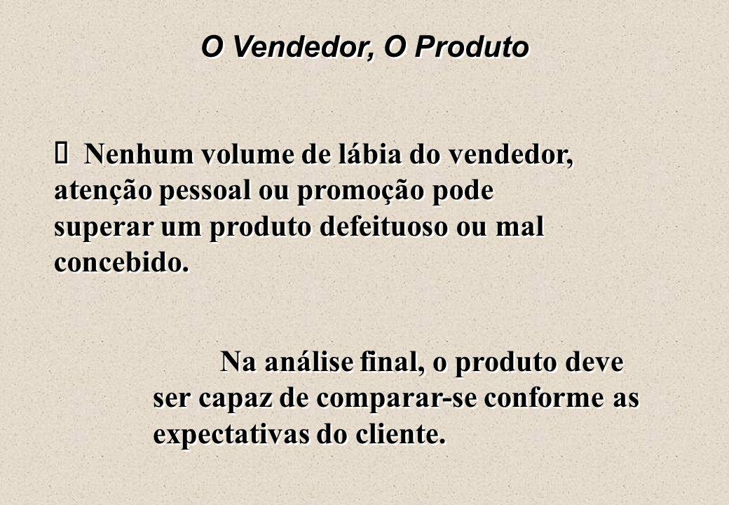 O Vendedor, O Produto ä Nenhum volume de lábia do vendedor, atenção pessoal ou promoção pode superar um produto defeituoso ou mal concebido.