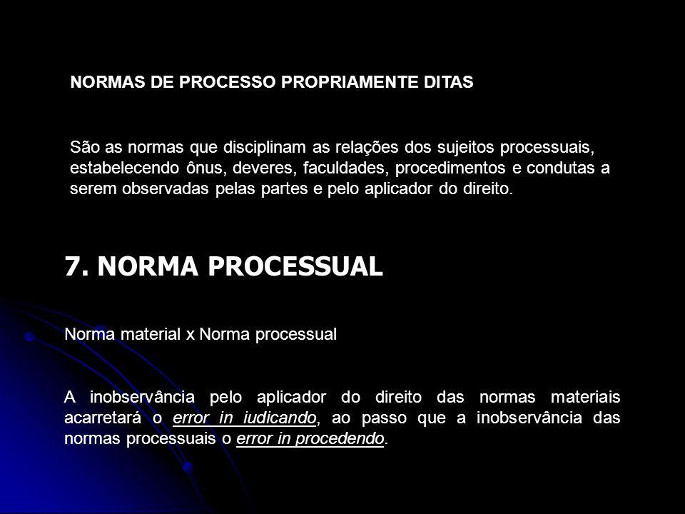 7. NORMA PROCESSUAL NORMAS DE PROCESSO PROPRIAMENTE DITAS