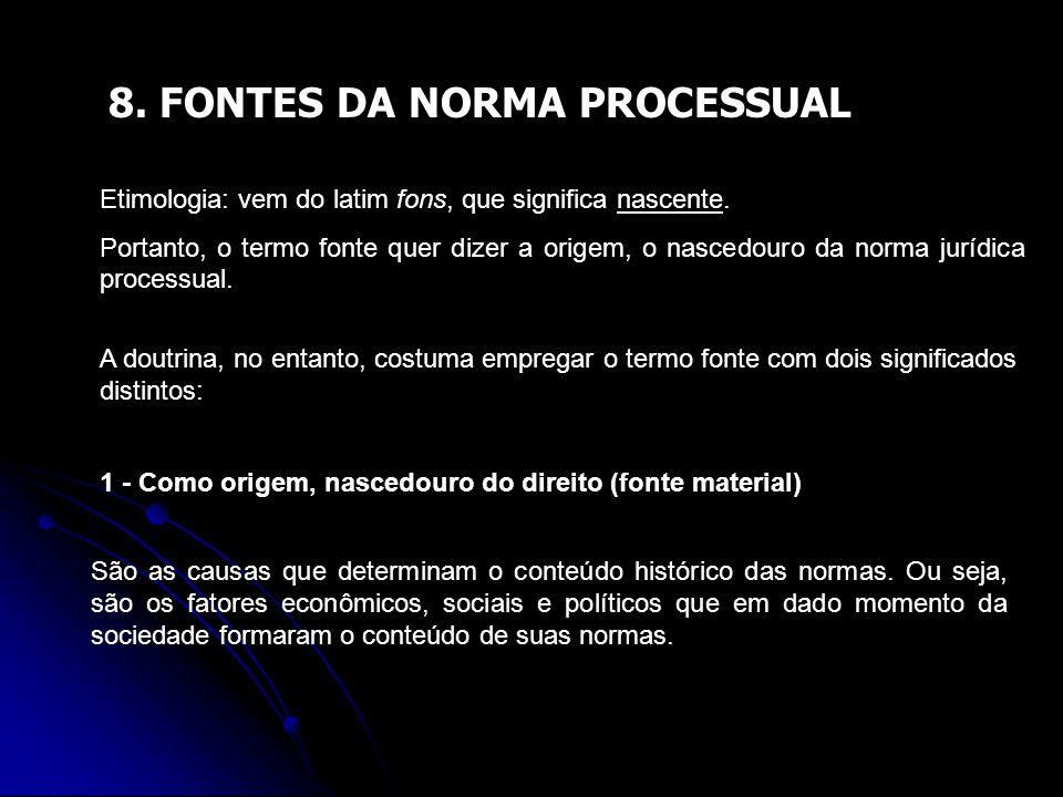 8. FONTES DA NORMA PROCESSUAL