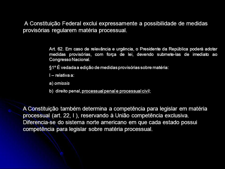 A Constituição Federal exclui expressamente a possibilidade de medidas provisórias regularem matéria processual.