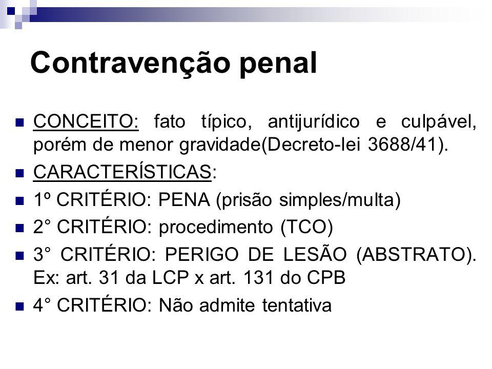 Contravenção penal CONCEITO: fato típico, antijurídico e culpável, porém de menor gravidade(Decreto-lei 3688/41).