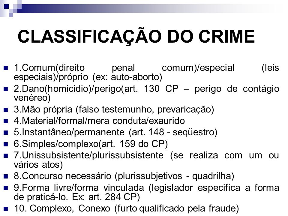 CLASSIFICAÇÃO DO CRIME