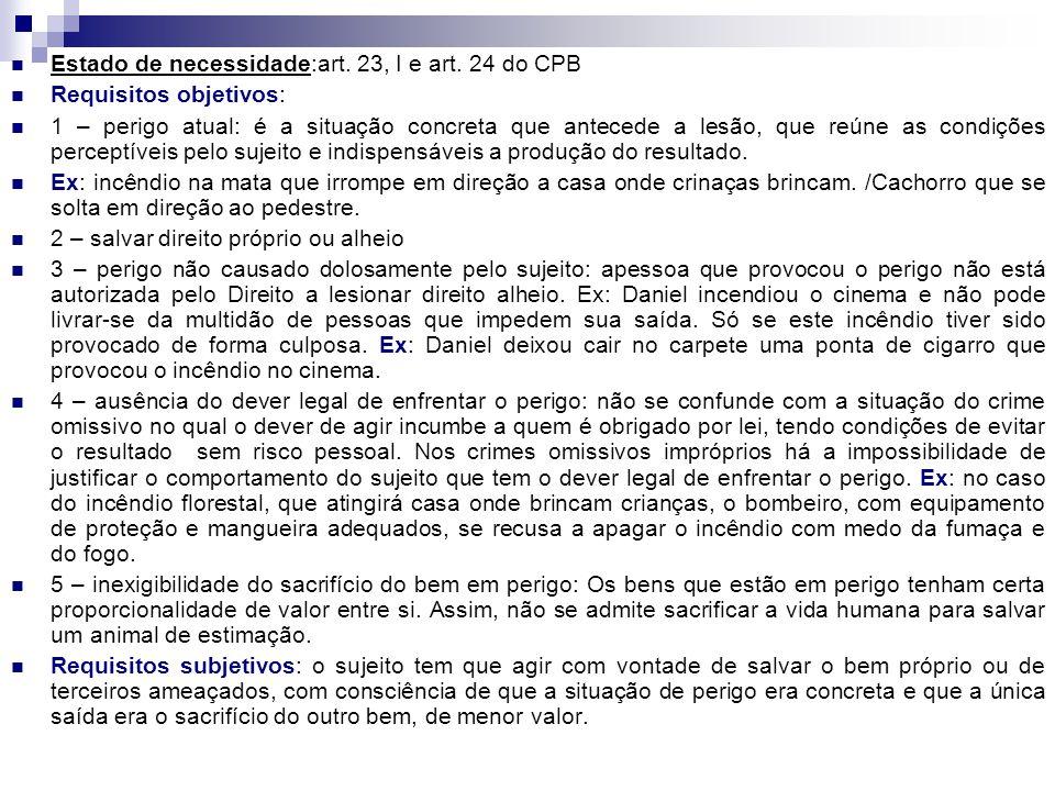 Estado de necessidade:art. 23, I e art. 24 do CPB