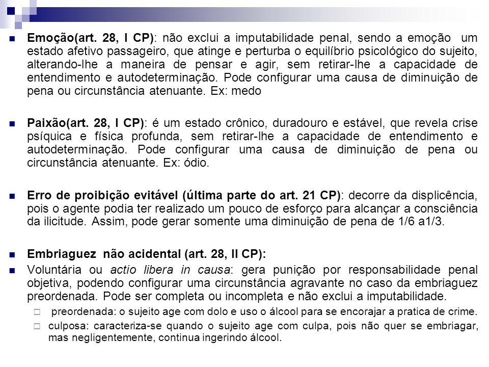 Embriaguez não acidental (art. 28, II CP):
