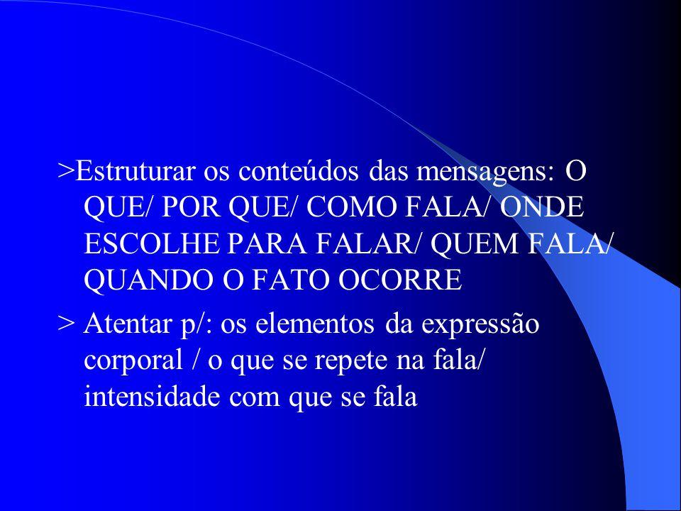 >Estruturar os conteúdos das mensagens: O QUE/ POR QUE/ COMO FALA/ ONDE ESCOLHE PARA FALAR/ QUEM FALA/ QUANDO O FATO OCORRE